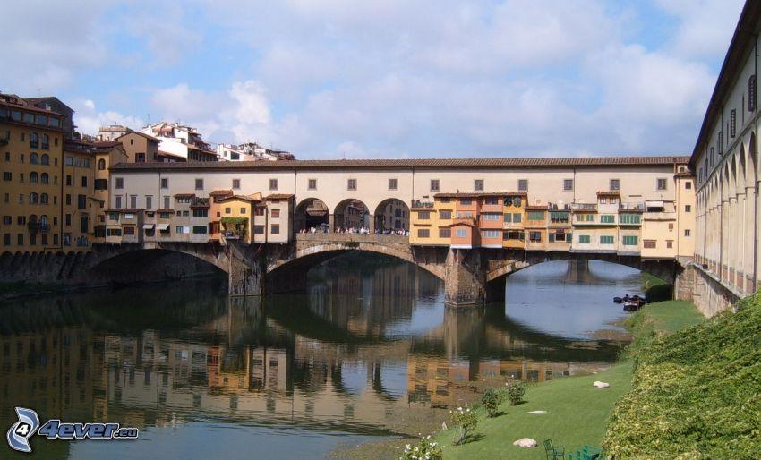 Ponte Vecchio, Florencia, Arno, odraz, rieka, most