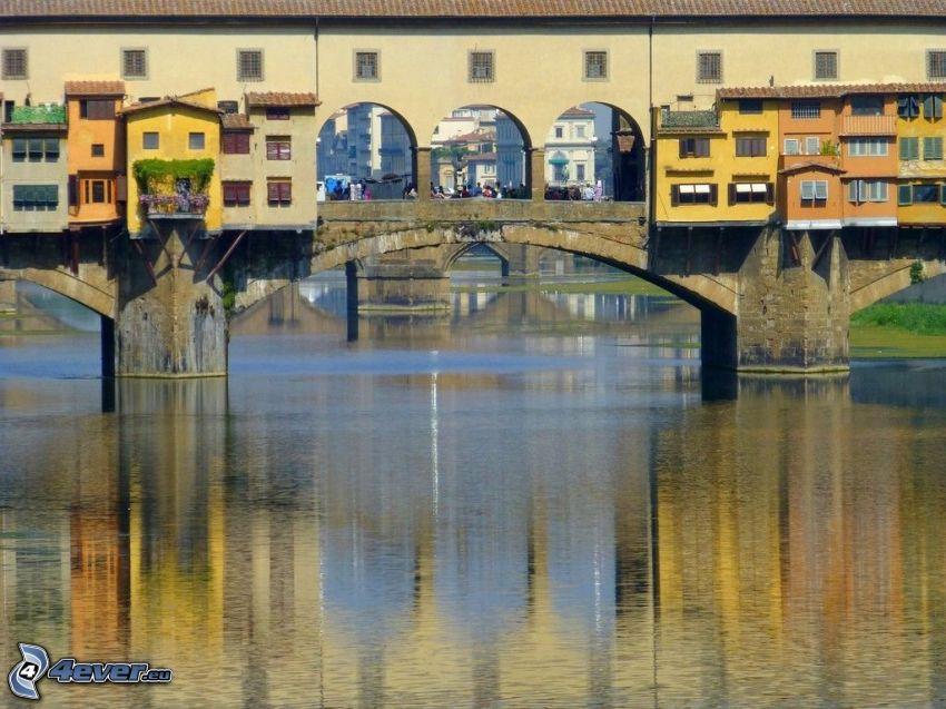 Ponte Vecchio, Florencia, Arno, rieka, mosty