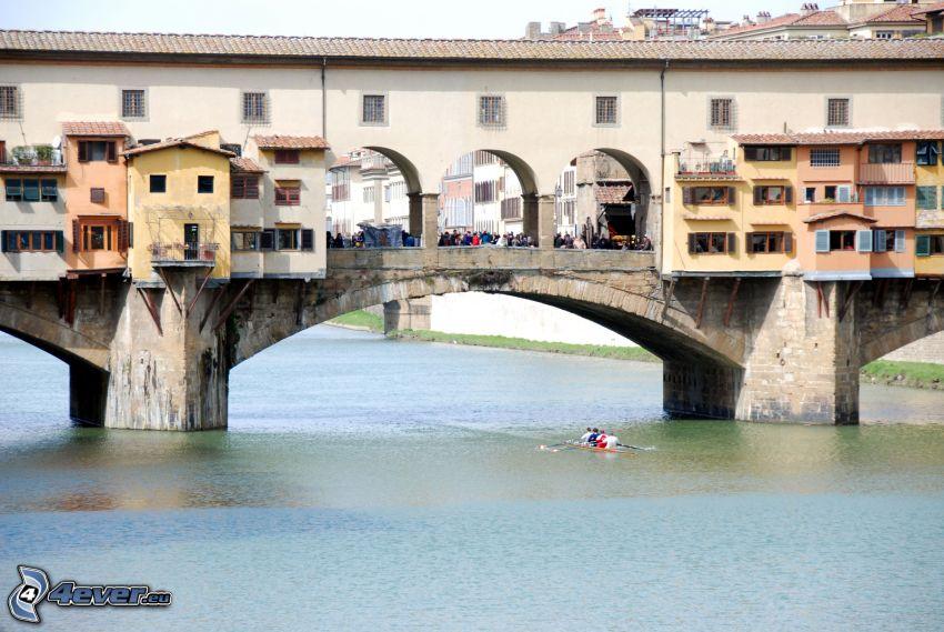 Ponte Vecchio, Florencia, kanoe, Arno, rieka, most