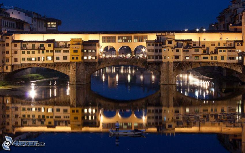 Ponte Vecchio, Florencia, noc, osvetlený most, Arno, rieka, most