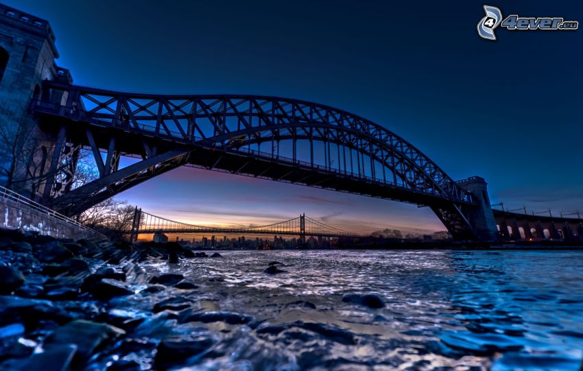 Sydney Harbour Bridge, mosty, rieka, večer