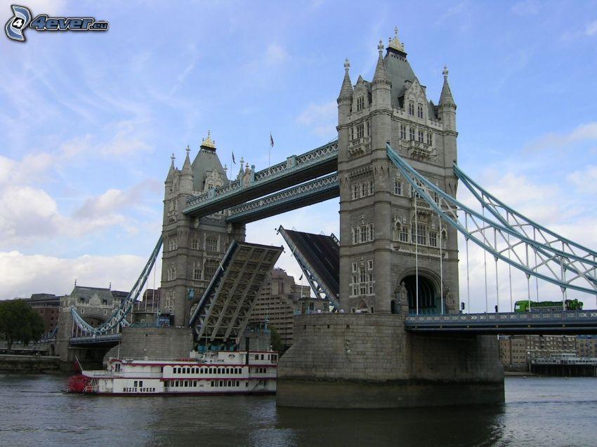 Tower Bridge, loď, Temža