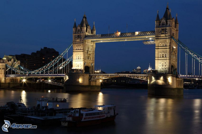 Tower Bridge, osvetlený most, noc, Temža
