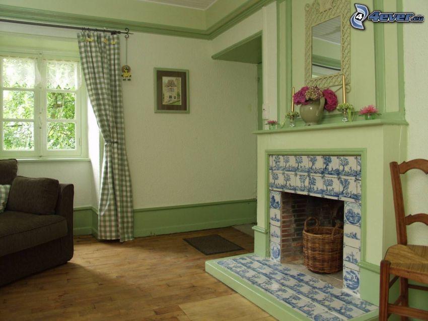 obývačka, kozub