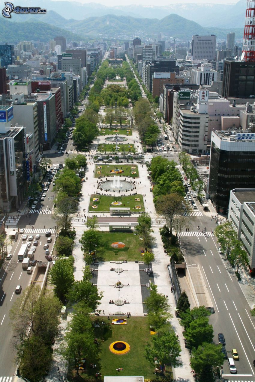 Odori Park, Sapporo, mrakodrapy, pohorie