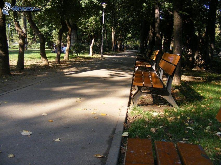 park, chodník, lavičky, stromy