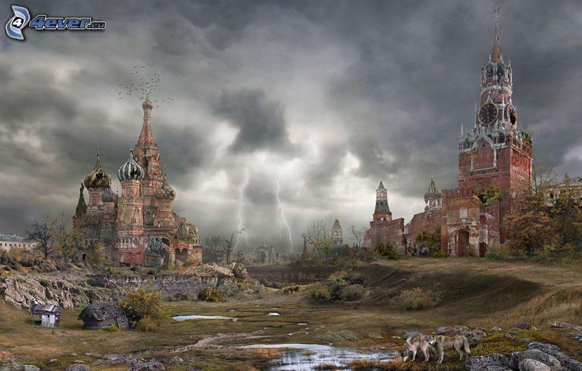 postapokalyptické mesto, Moskva, Chrám Vasiľa Blaženého, Kremeľ, Rusko, kostol, blesky