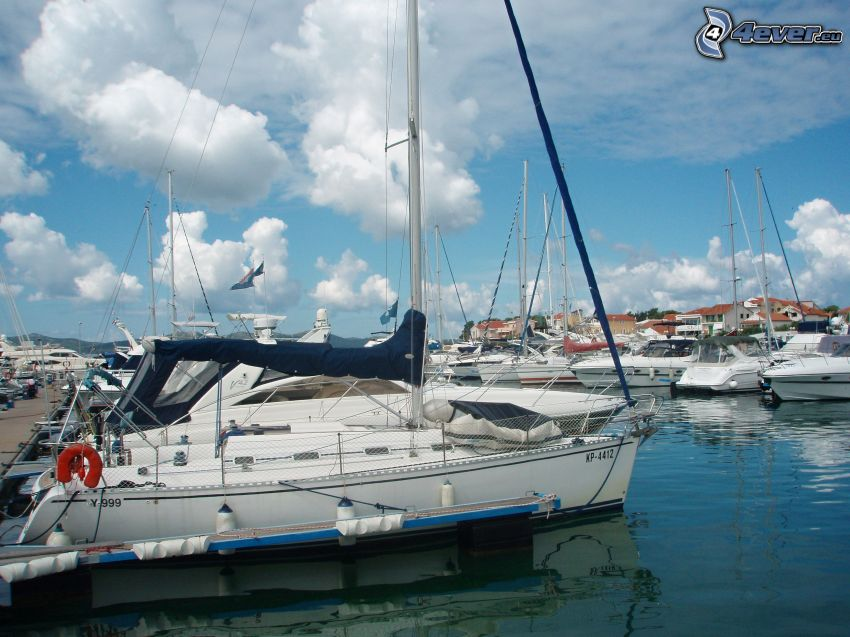 prístav, jachty, člny, more