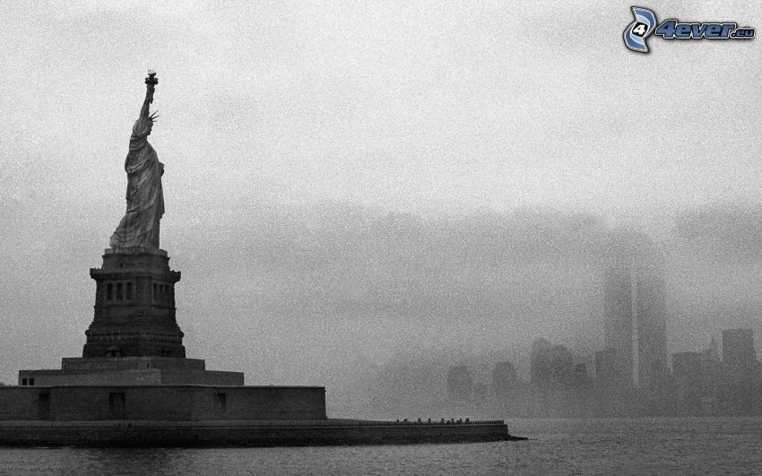 Socha slobody, New York, USA, čiernobiele