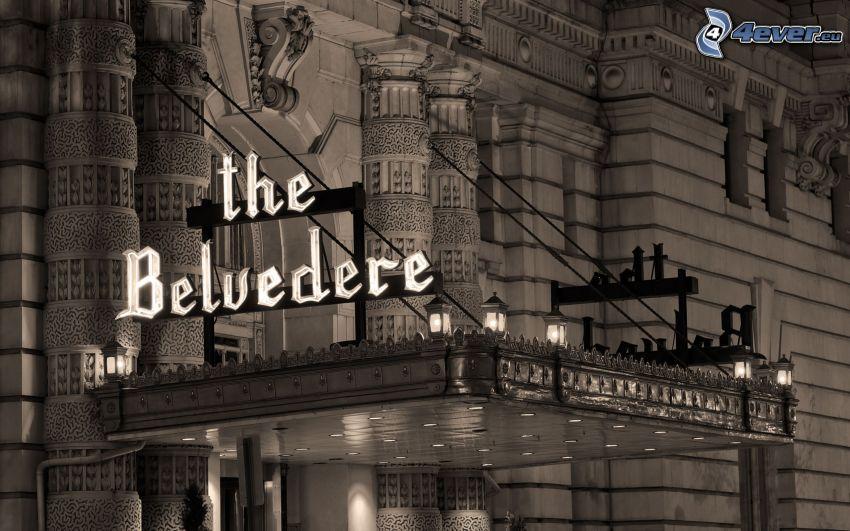 the Belvedere, hotel, Viedeň, Rakúsko, čiernobiele
