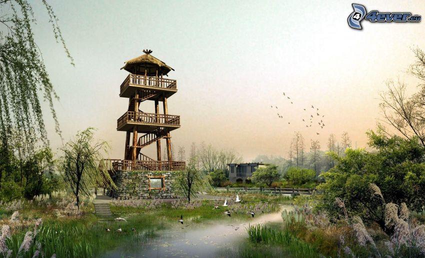 vyhliadková veža, jazierko, zeleň
