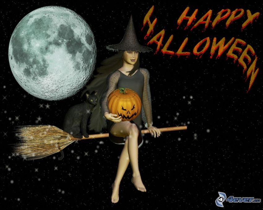 Halloween, čarodejnica, ježibaba na metle, mesiac, halloweenska tekvica