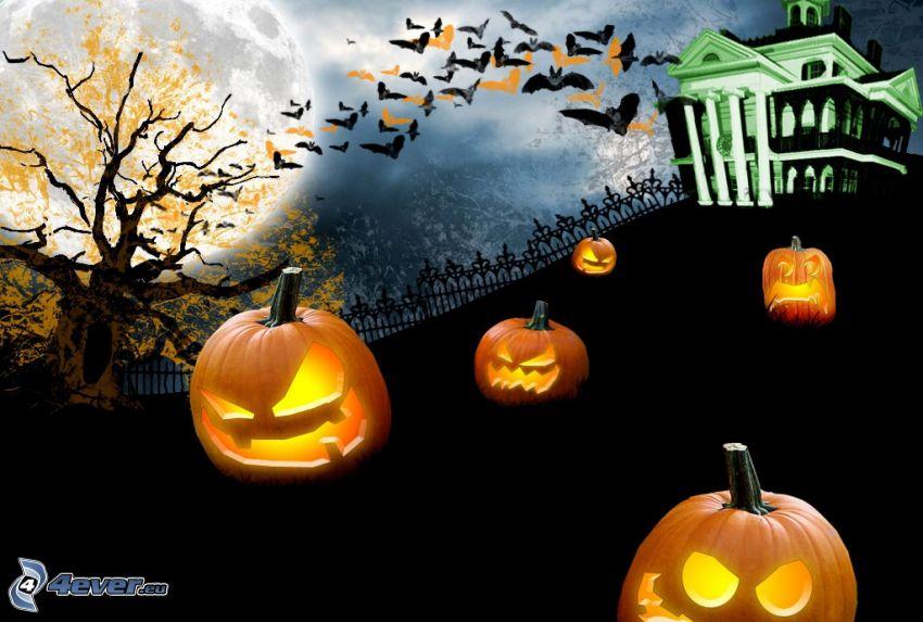 Halloween, strašidelný dom, halloweenske tekvice, jack-o'-lantern