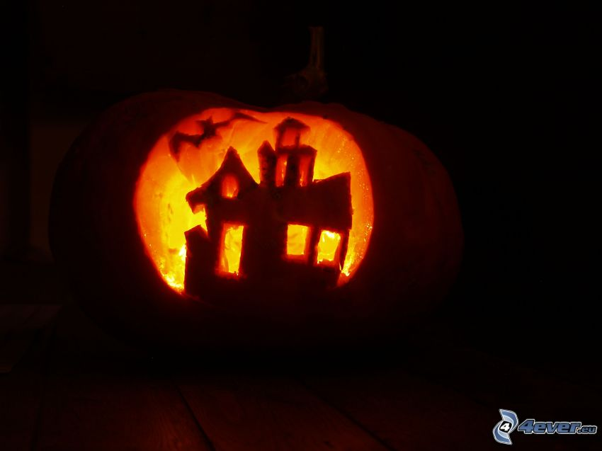 halloweenska tekvica, strašidelný dom