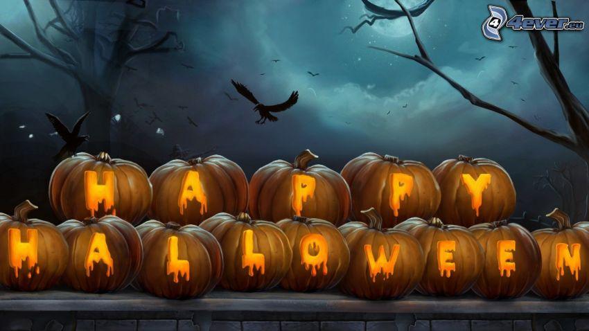 halloweenske tekvice, Halloween, vtáky, siluety stromov, noc