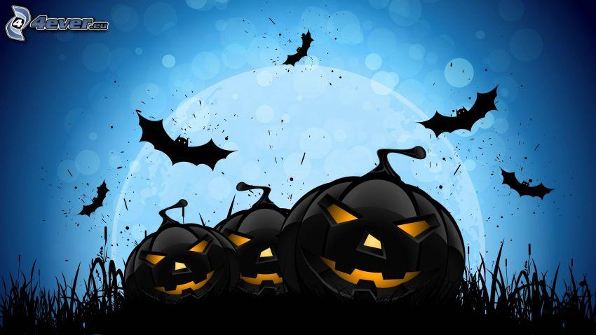 halloweenske tekvice, netopiere, modré pozadie, kreslené