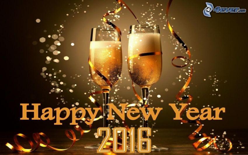 happy new year, 2016, šampanské