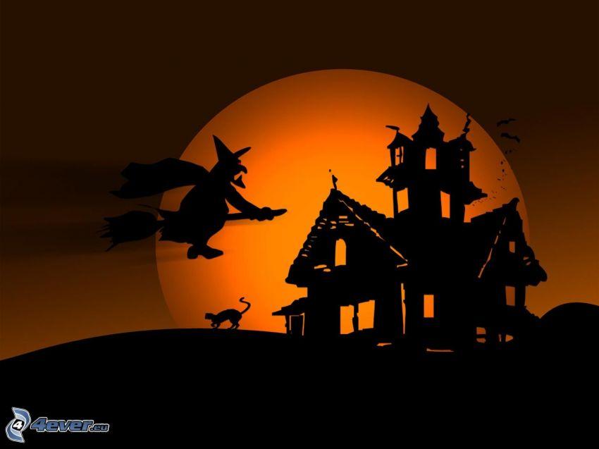 strašidelný dom, čarodejnica, ježibaba na metle