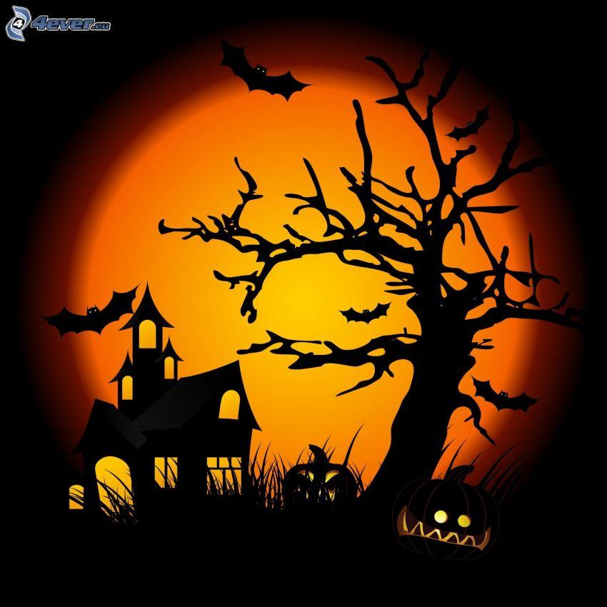 strašidelný dom, strašidelný strom, halloweenske tekvice