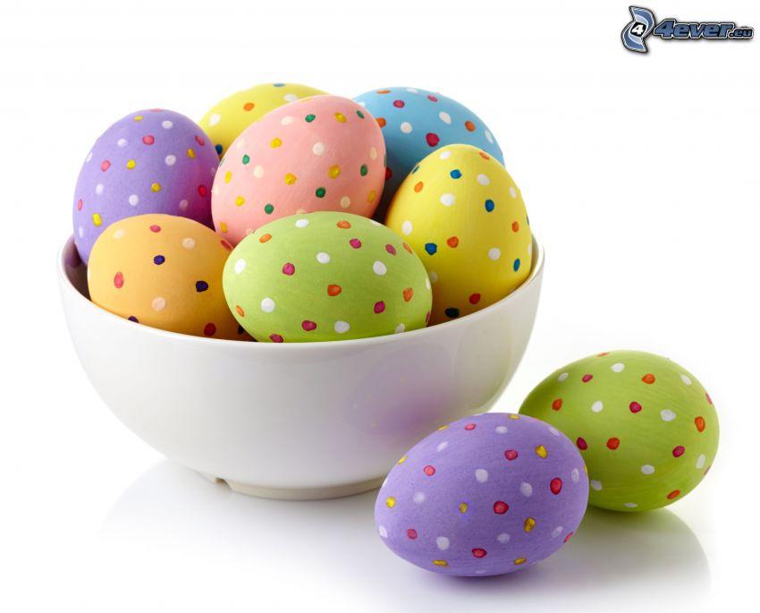 veľkonočné vajíčka, miska