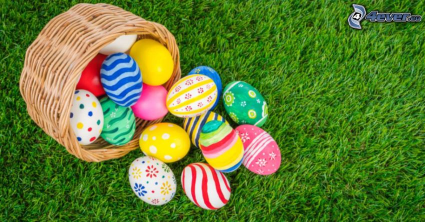 veľkonočné vajíčka, tráva, košík