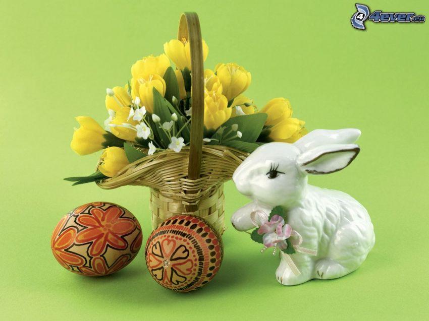 veľkonočný zajac, kvetinka, košík, veľkonočné vajíčka, zátišie