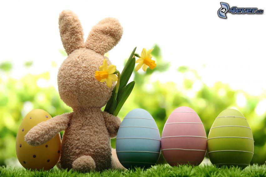 veľkonočný zajac, veľkonočné vajíčka, narcis