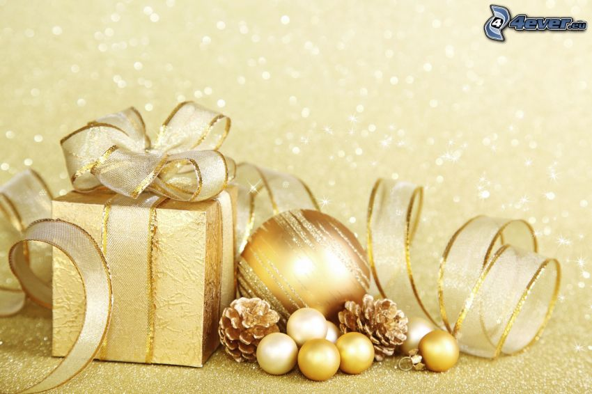 darček, vianočná guľa, šišky, stuha