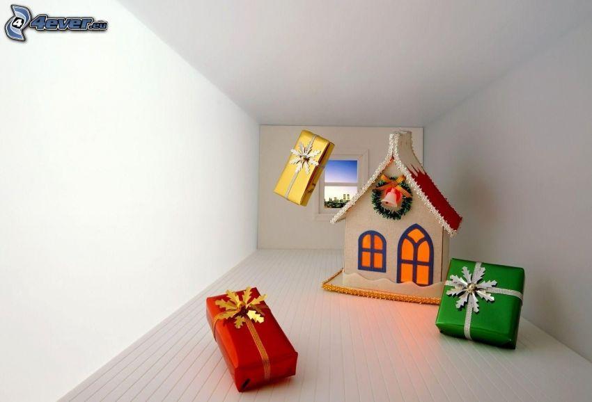 domček, darčeky