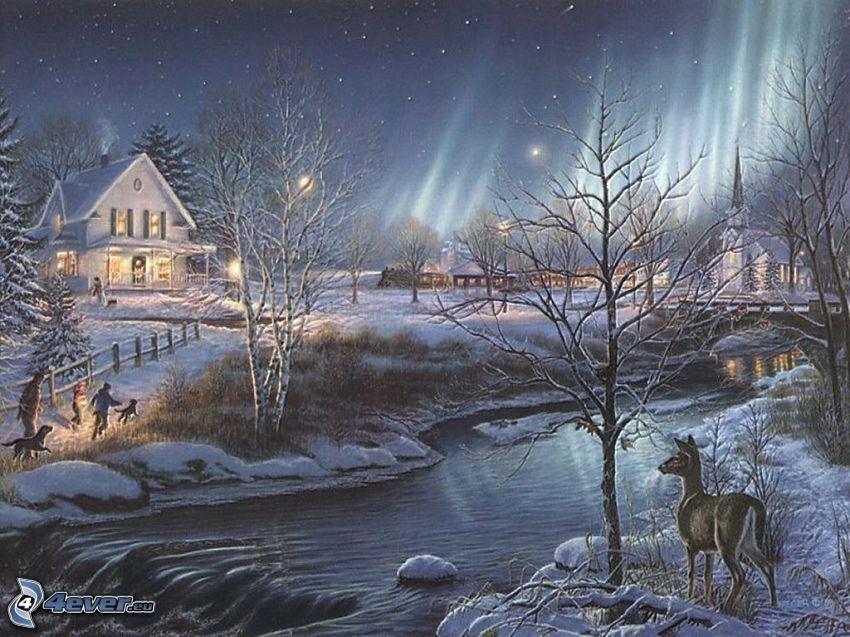 kreslená dedinka, vianoce, zima, sneh, potok, srnka, stromy, polárna žiara, Thomas Kinkade