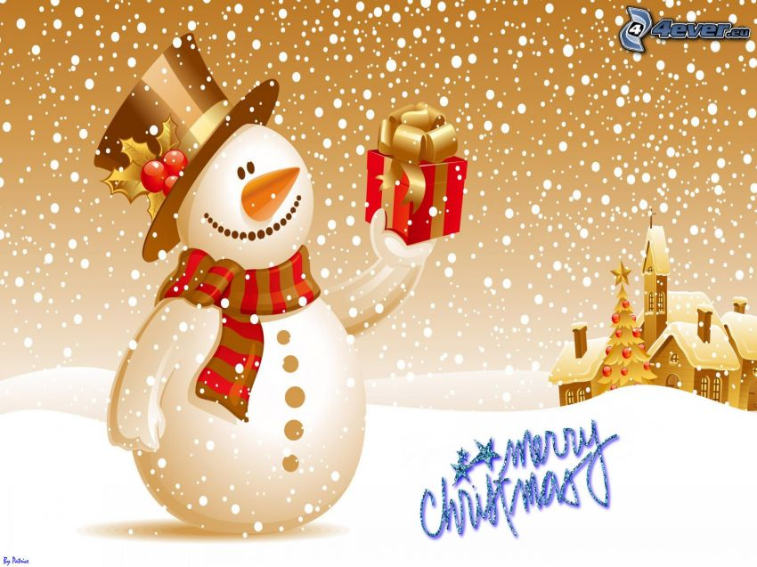 Merry Christmas, snehuliak, darček, domy, vianočný stromček, kreslené