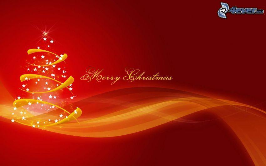Merry Christmas, vianočný stromček, šťastné a veselé vianoce, červené pozadie