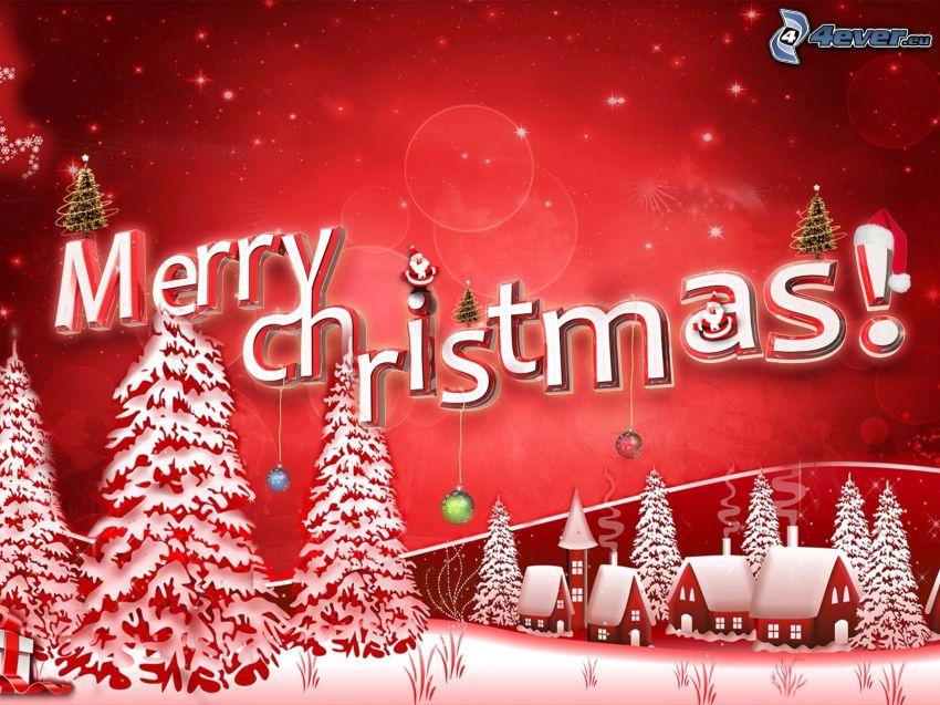 Merry Christmas, zasnežená krajina, domčeky, stromy