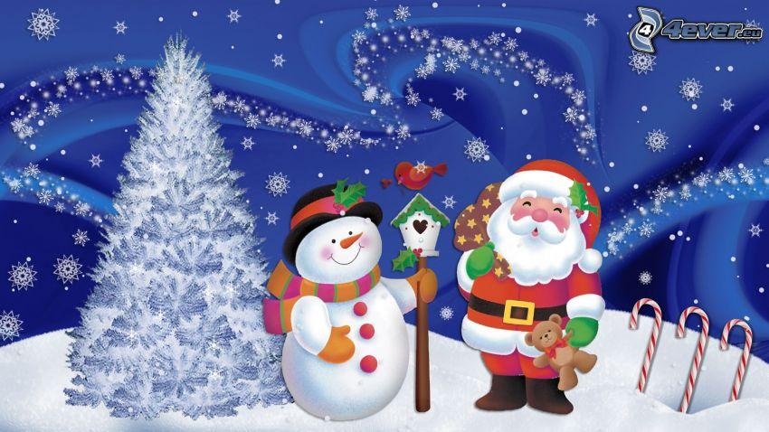 Santa Claus, snehuliak, zasnežený strom, vtáčia búdka, snehové vločky, kreslené