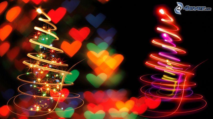 svetelná hra, vianočný stromček
