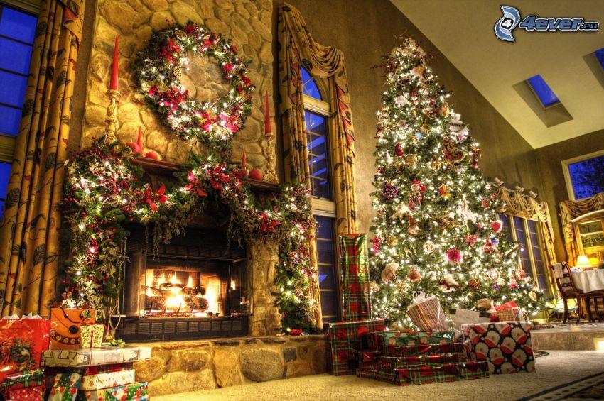 vianoce, vianočný stromček, krb, obývačka