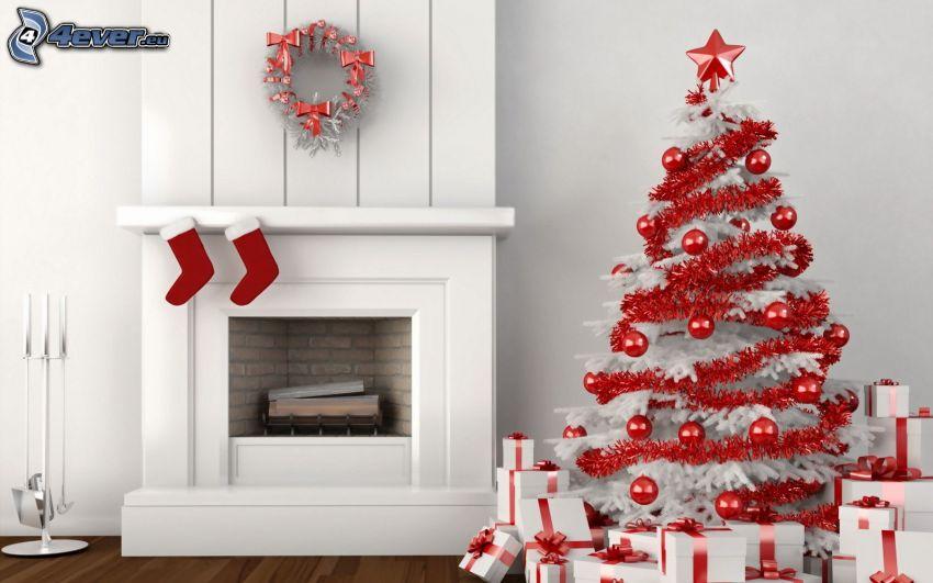 vianočný stromček, darčeky, krb