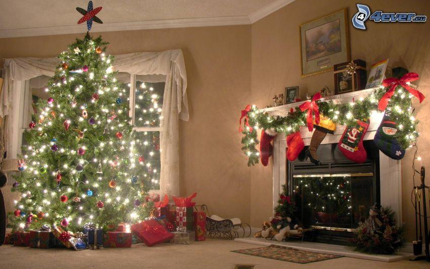 vianočný stromček, obývačka