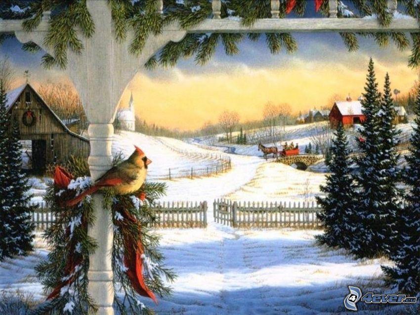 zasnežená krajina, vtáčik, ihličnaté stromy, chatrč, koč