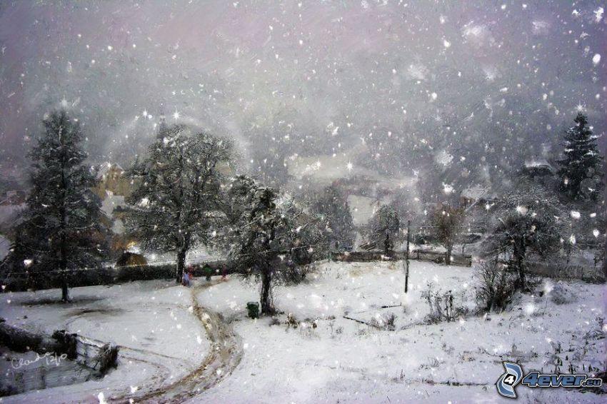 zasnežený park, snehové vločky, stromy, kreslené