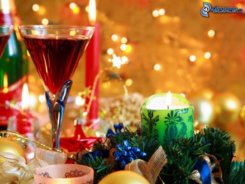 zátišie, sviečka, nápoj