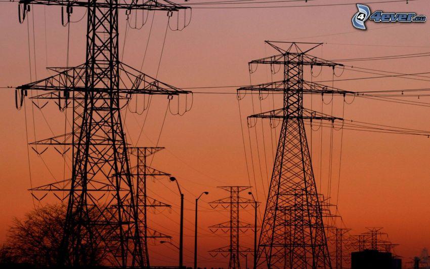 elektrické vedenie, oranžová obloha