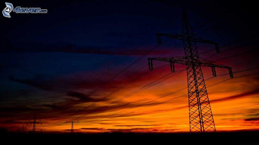 elektrické vedenie, po západe slnka, oranžová obloha