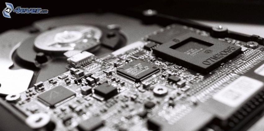 hard disk, čiernobiela fotka
