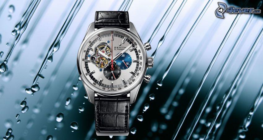 hodinky, kvapky vody