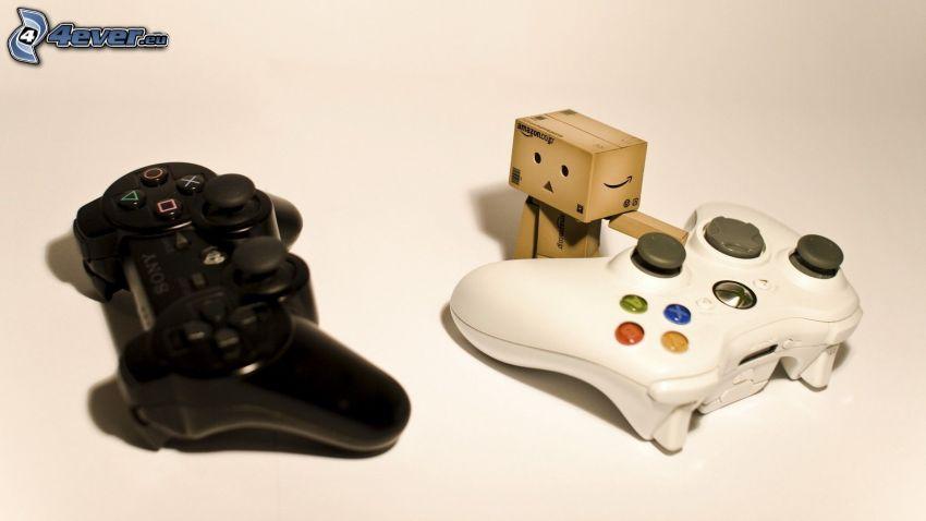 joystick, Playstation, papierový robot