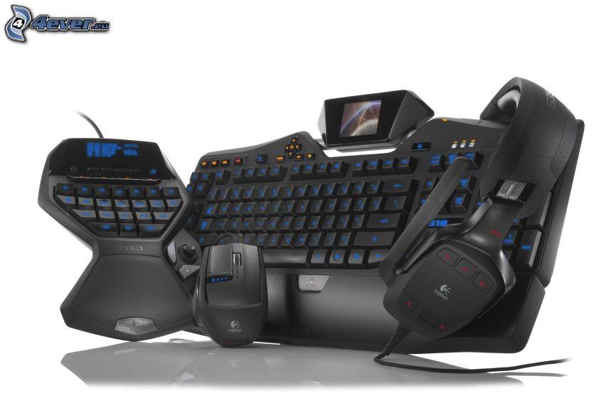 klávesnica, myš, slúchadlá