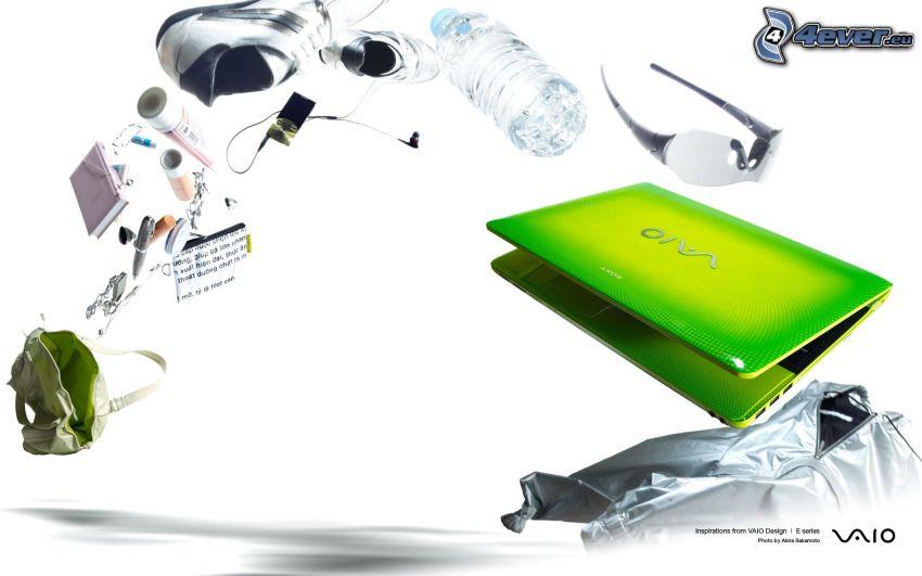 notebook, Sony Vaio, slnečné okuliare, fľaša