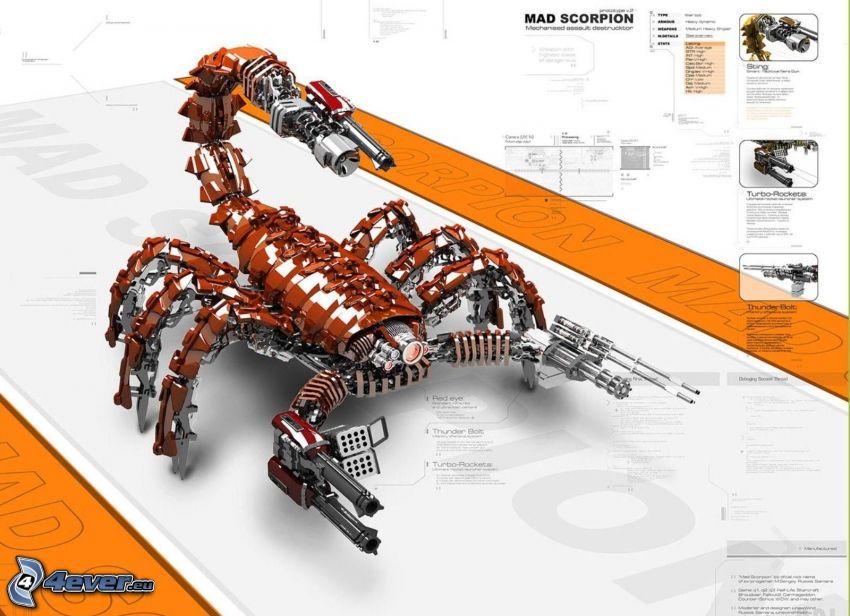 škorpión, mechanické zviera, robot