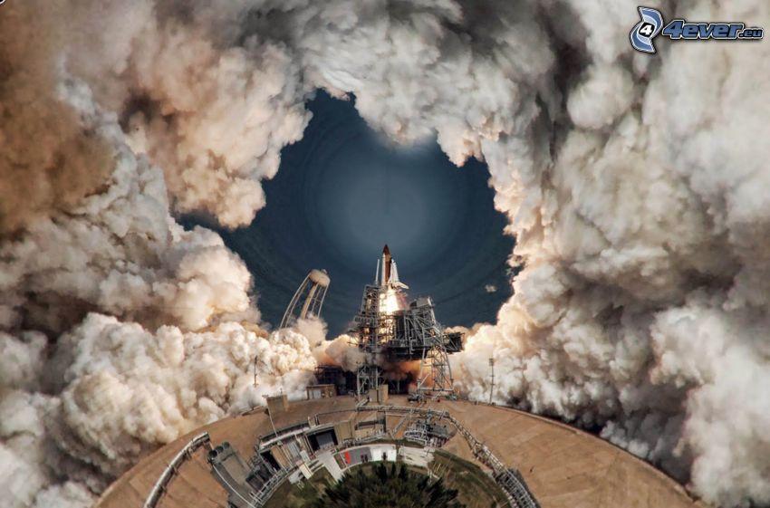 štart raketoplánu, dym